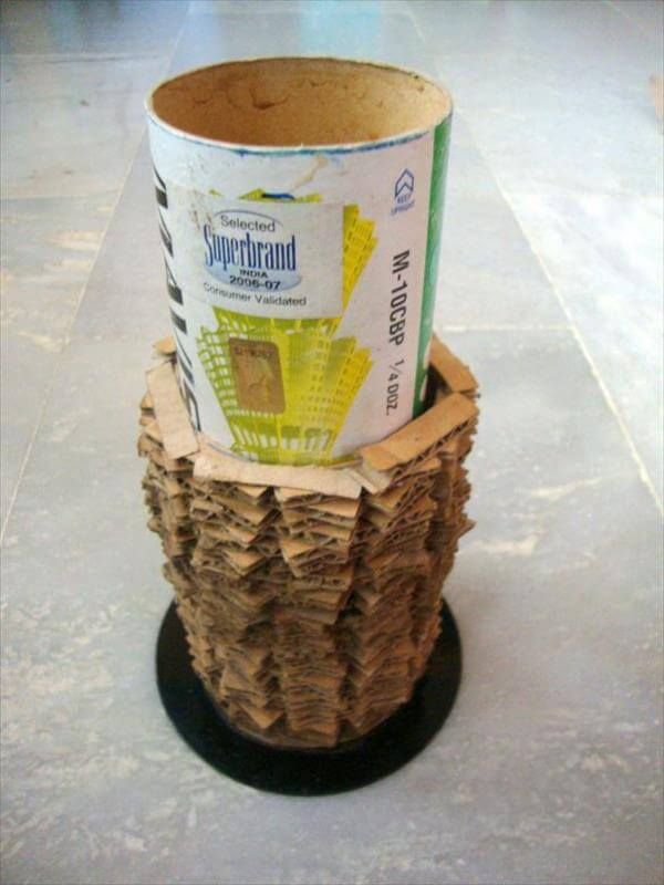 repurposed cardboard and CD vase