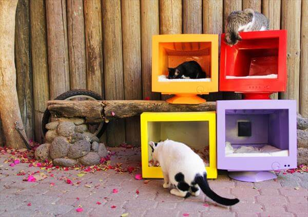upcycled collapsed screen pet houses