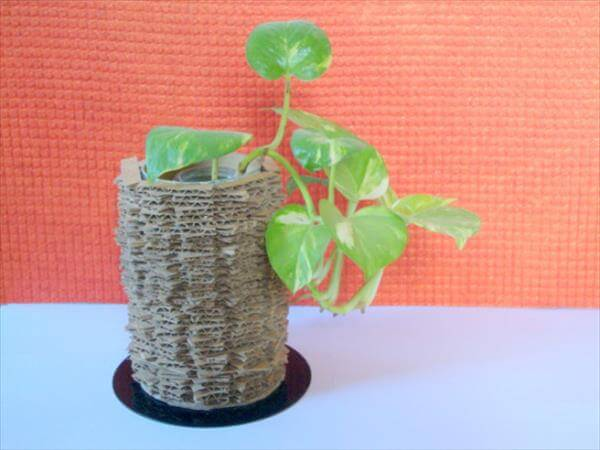 recycled cardboard and old CD vase