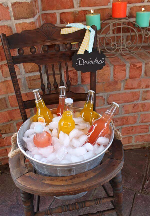 diy recycled old chair drink stand