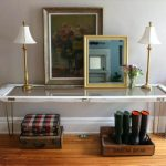 diy old glass-paned door entry way table