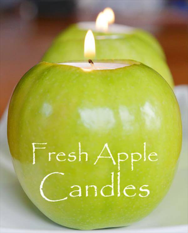 diy fresh apple candles