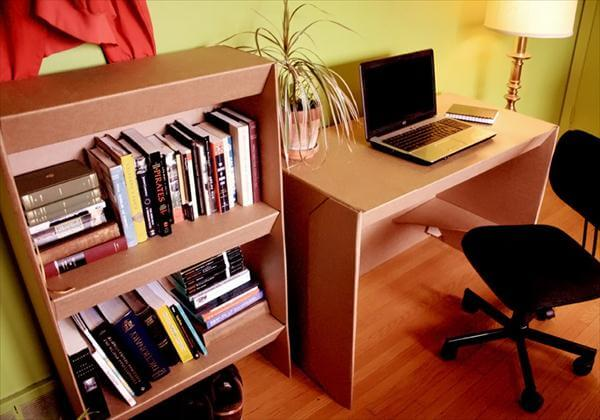 recycled cardboard computer desk and bookshelf