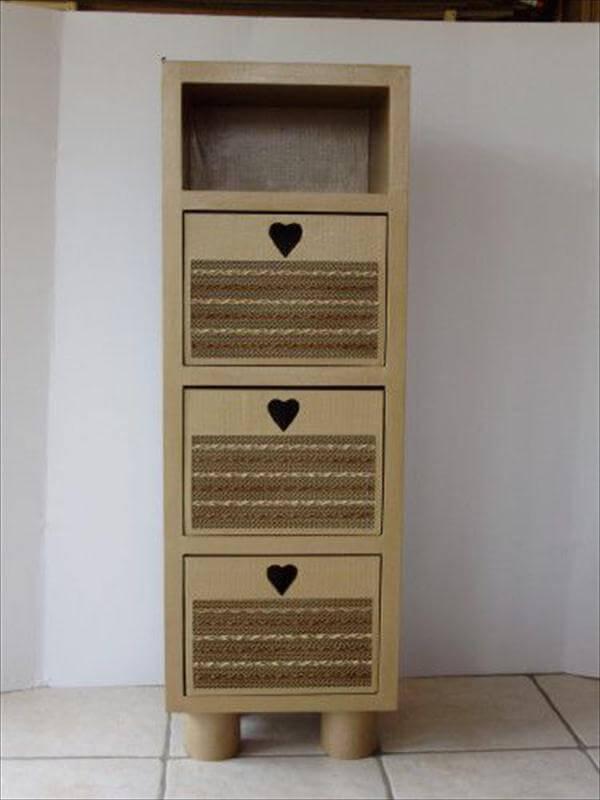 reclaimed cardboard storage cabinet