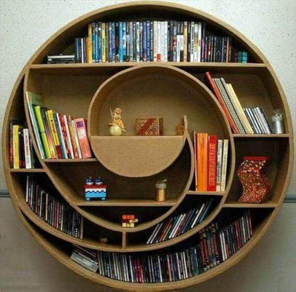 handcrafted pallet round swirling bookshelf
