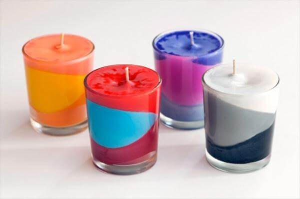 creative color blocked layered candles