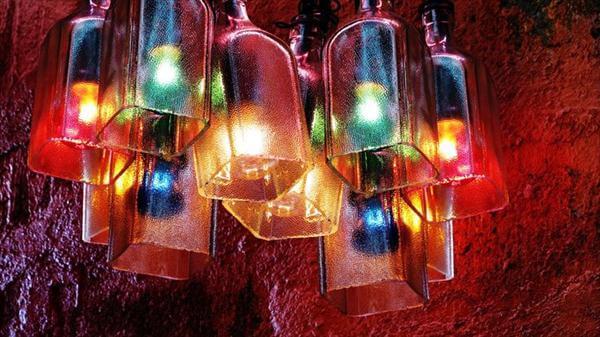 empty glass bottle light chandelier