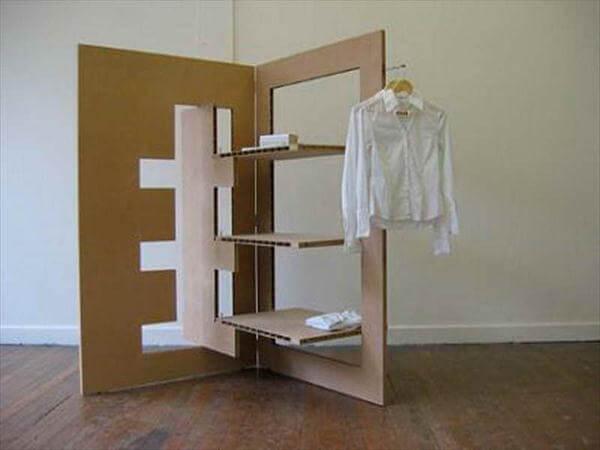 handmade cardboard shelving unit