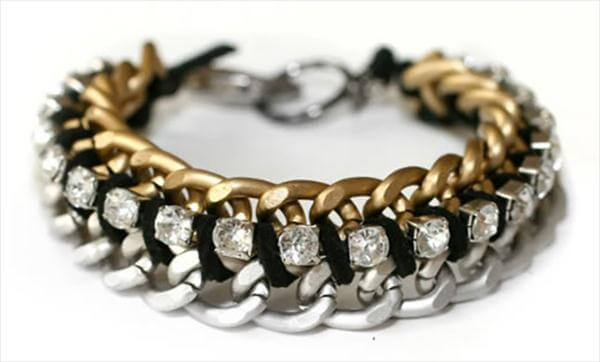metal chains and rhinestone bracelet