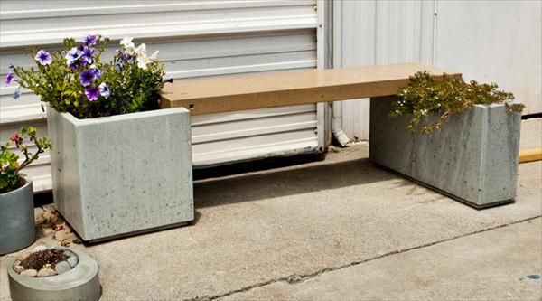 handmade concrete bench and planter idea
