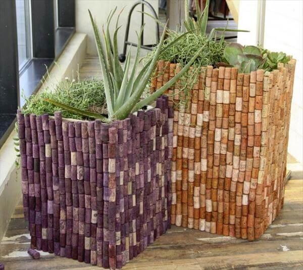 diy cork garden planters