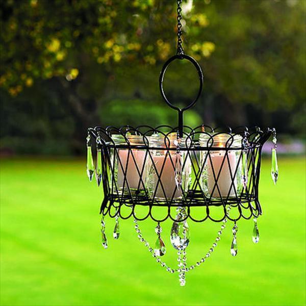 garden candle chandelier