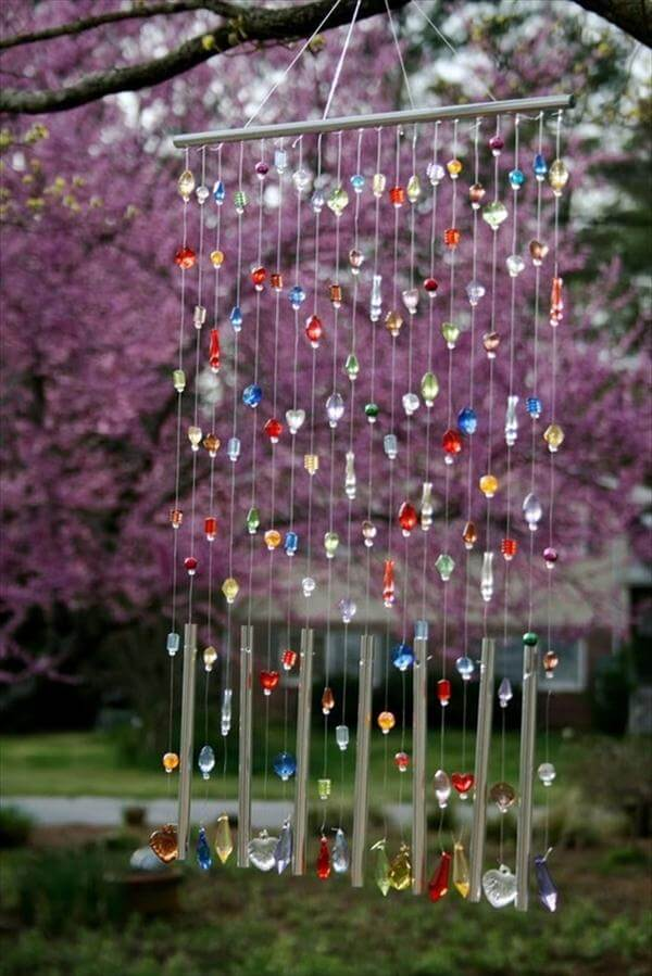 diy beaded garden wind chime