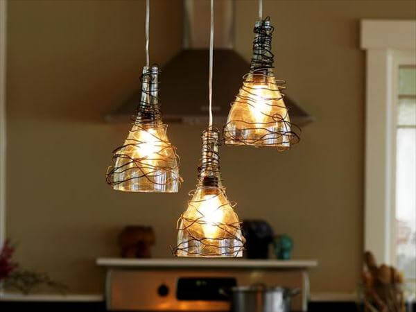half cut glass bottle kitchen pendant lights