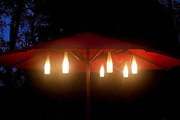 diy outdoor glass bottle umbrella lights