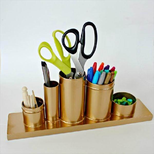 recycled tin can gold painted desk organizer