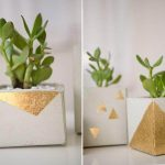 diy chic white goldleaf concrete planters