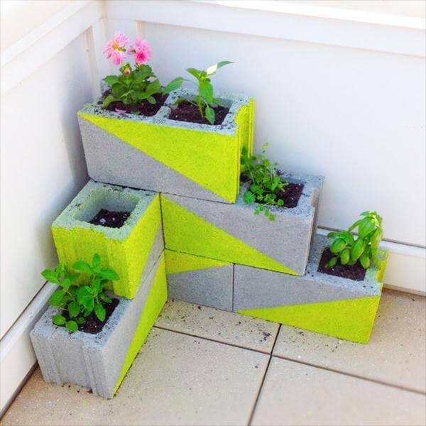 diy neon painted concrete block planters