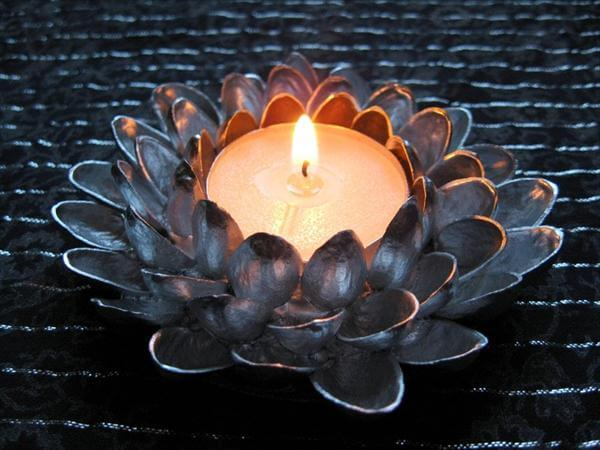 recycled pistachio shell candle flower