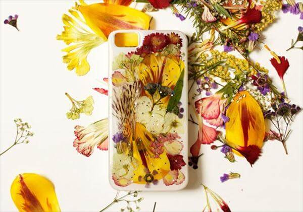 self-made pressed flower phone case