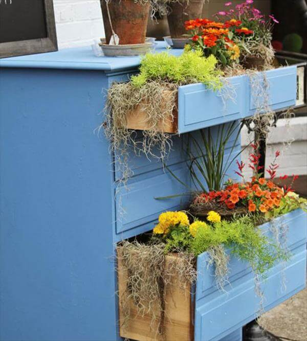 diy recycled blue painted spring container garden