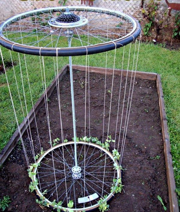 diy recycled bike trellis design
