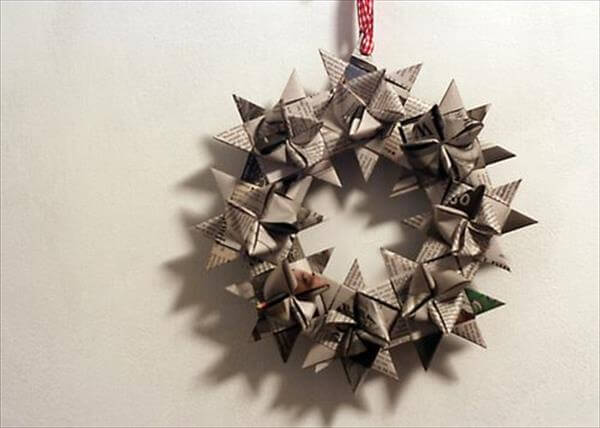 diy recycled simple and good look wheel wreath design