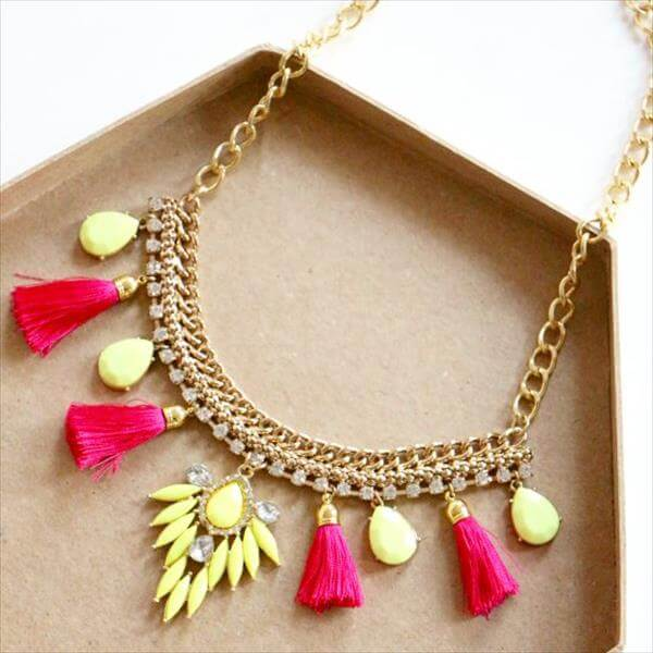 diy recycled light yellow and red beautiful necklace