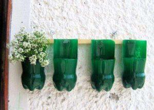 upcycled handmade plastic bottles wall vases