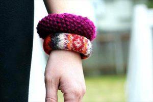 upcycled old sweater bracelets