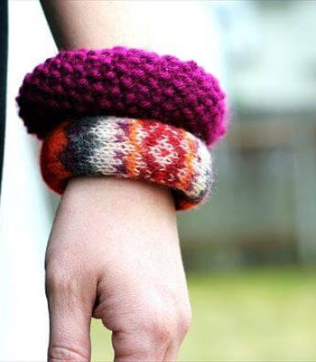 upcycled old sweater bracelets
