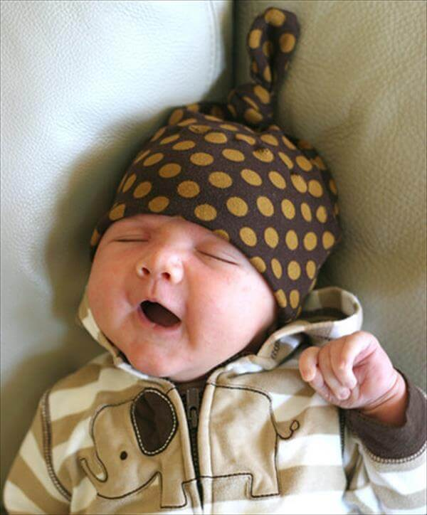 DIY recycled tshirt Baby hats pattern
