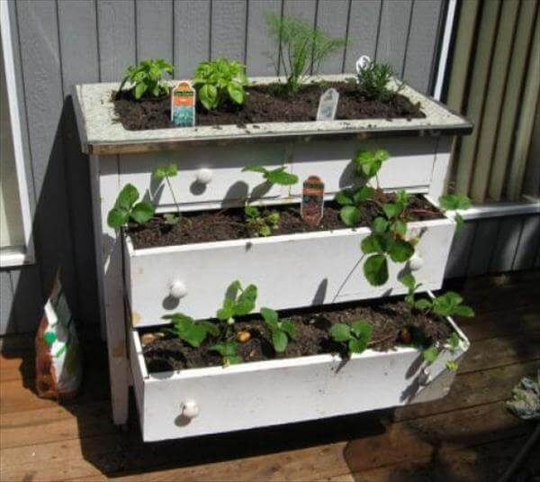 diy recycled painted dresserturned container garden