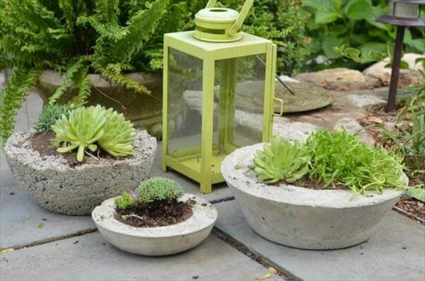 diy chic concrete garden planters