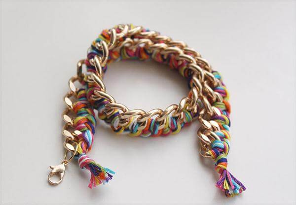 metal chain and string bracelet