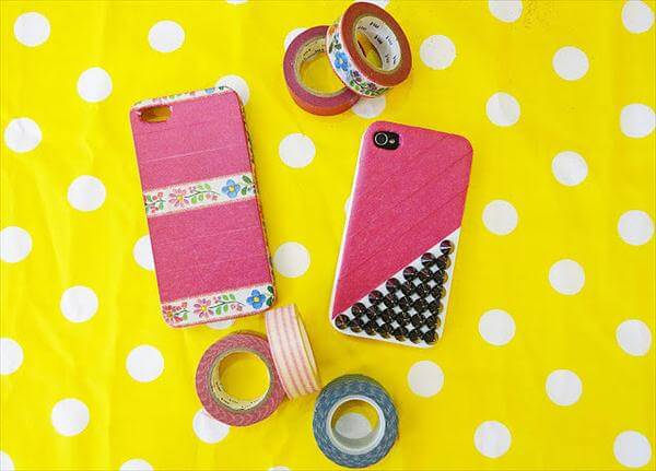 handcrafted studs and washi tape phone case