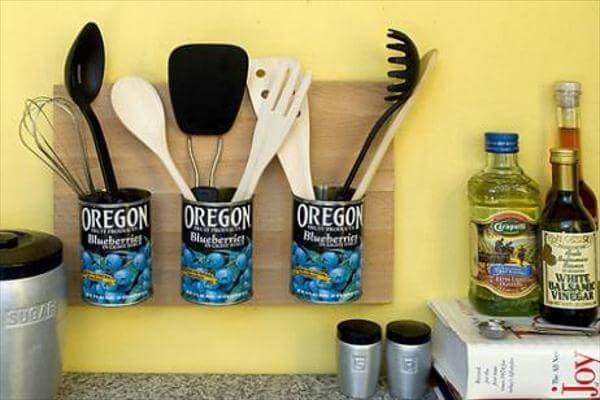 upcycled tin can kitchen tool organizer