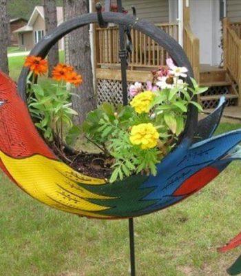 diy faux parrot tire planter