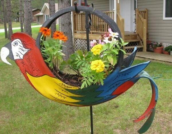 diy faux parrot tire planter