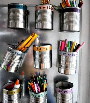 repurposed tin can hanging stationery organizer