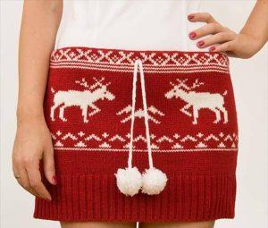 repurposed old red sweater skirt