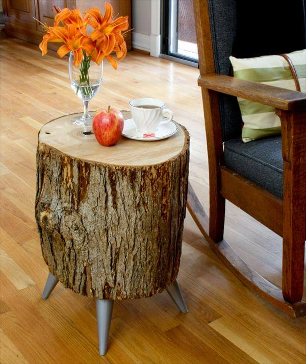 vintage wood log side table