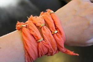 recycled old dress and nuts bracelet