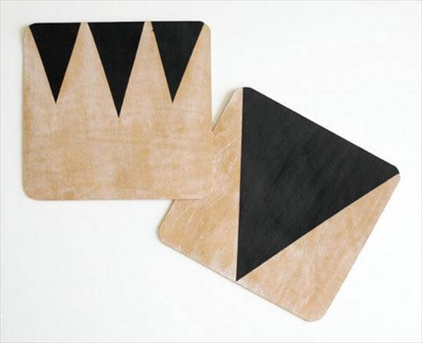 wooden geometric leather mouse pad
