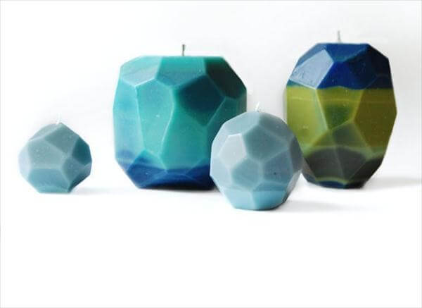 beautiful geometrical faceted candles