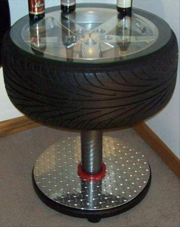 pedestal tire side table