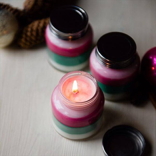 colorful layerd sceneted candles