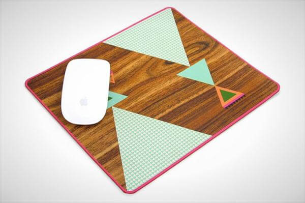 diy geometric woodgrain mouse pad