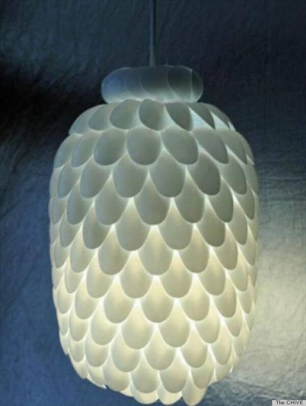 white plastic spoon chandelier