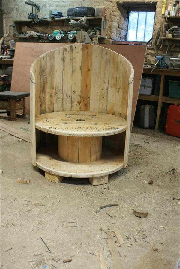 reclaimed old cable spool chair